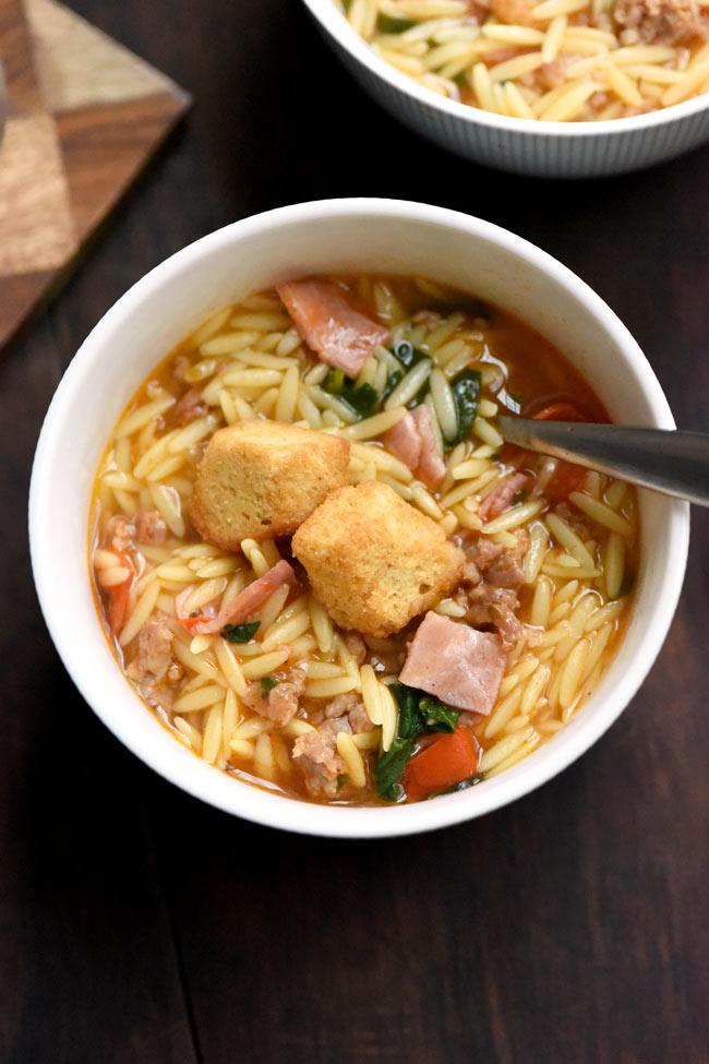 Italian Sub Orzo Soup