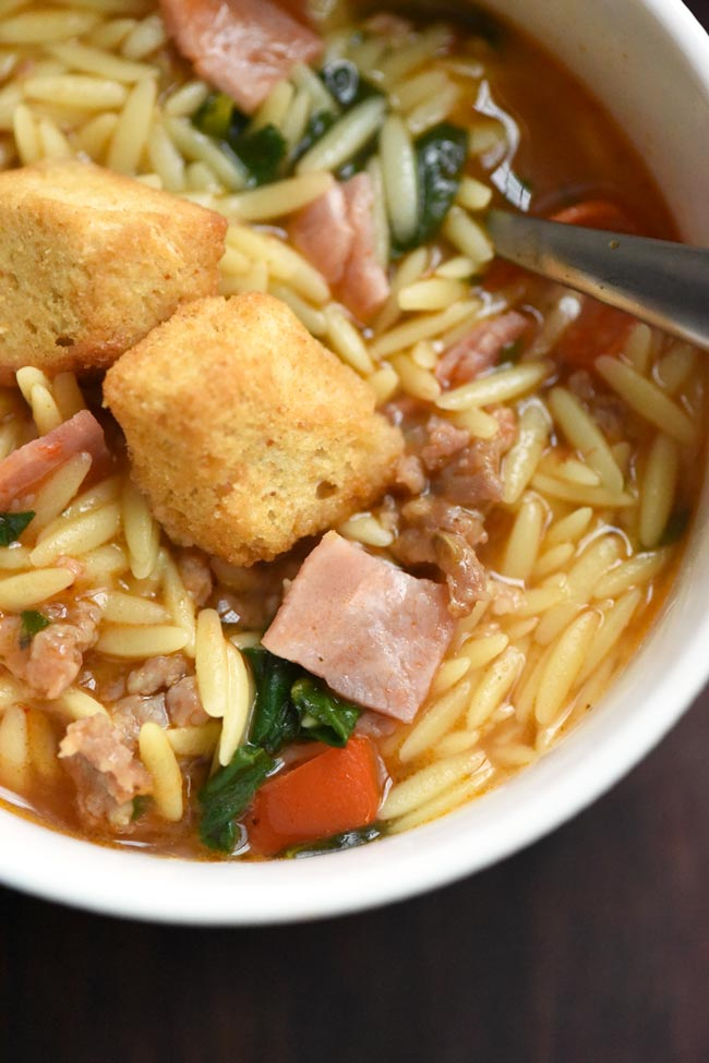 Italian Sub Soup with Orzo