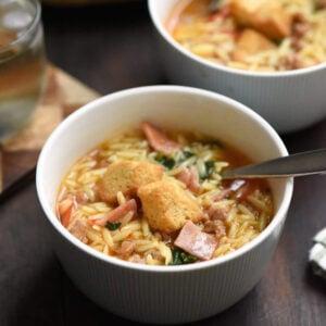 Italian Sub Soup with Orzo Pasta