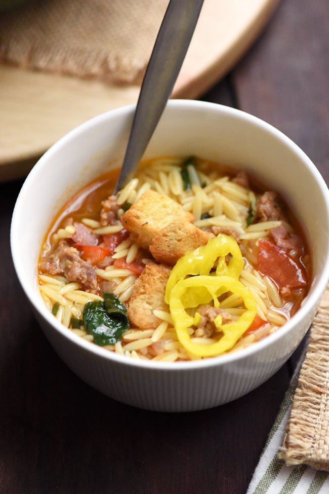 Italian Sub Orzo Soup with Banana Peppers