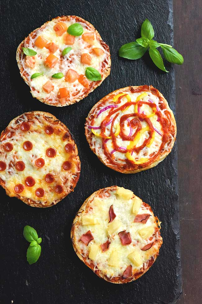 Mini Pizzas using leftover kaiser rolls
