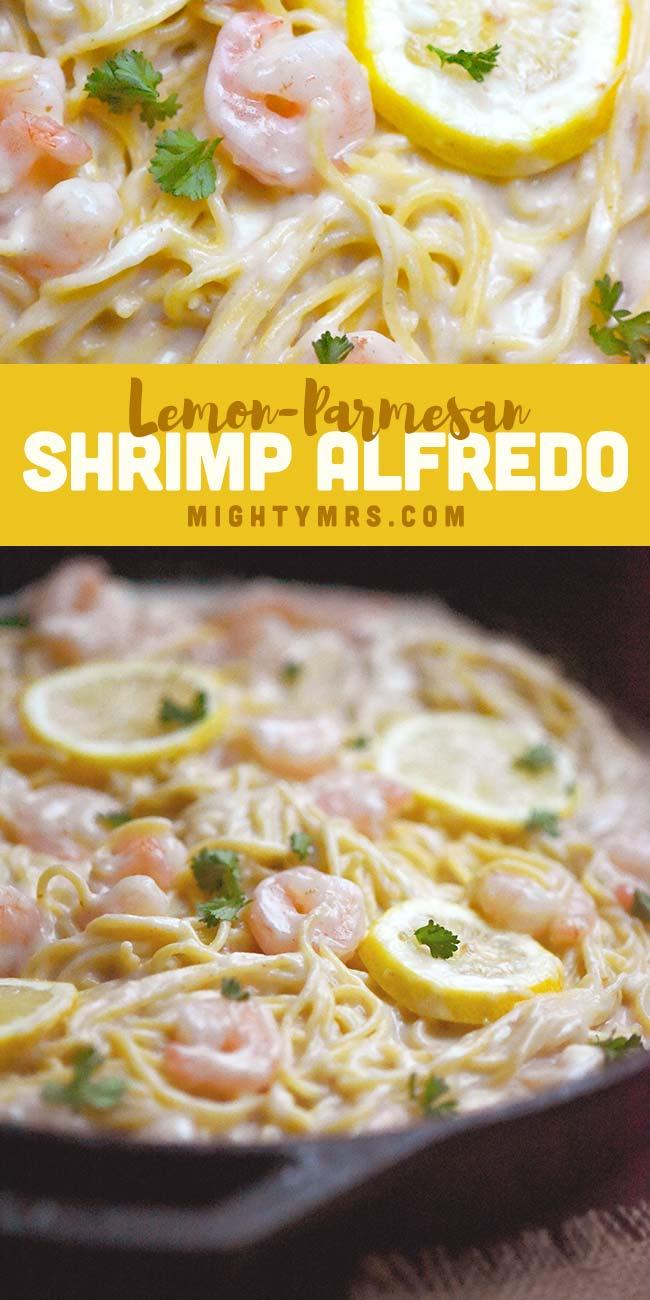 Lemony Parmesan Shrimp Alfredo Pasta