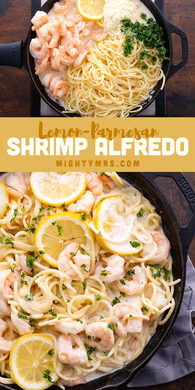 Lemon Parmesan Shrimp Alfredo Pasta