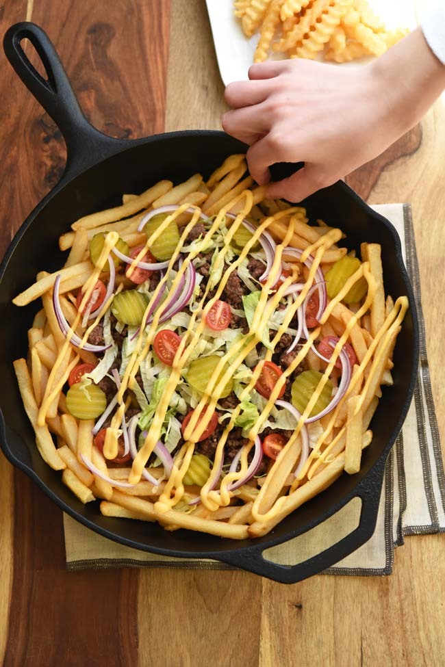 Loaded Cheeseburger Fries - Quick and Easy Appetizer