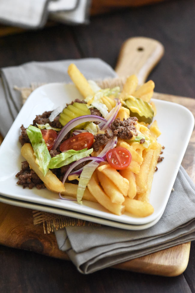 Loaded Cheeseburger Fries Plated