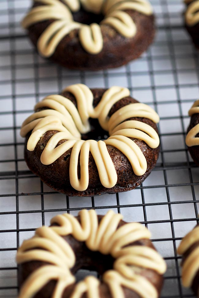 Chocolate Maple Zucchini Donuts on Cooling Rack