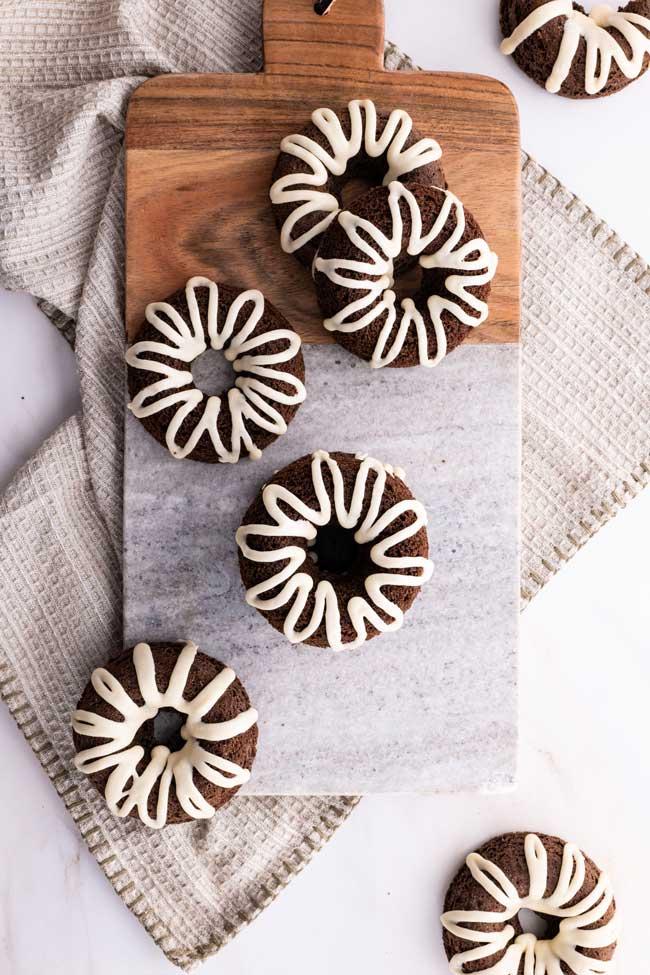 Tray of Chocolate Maple Zucchini Donuts