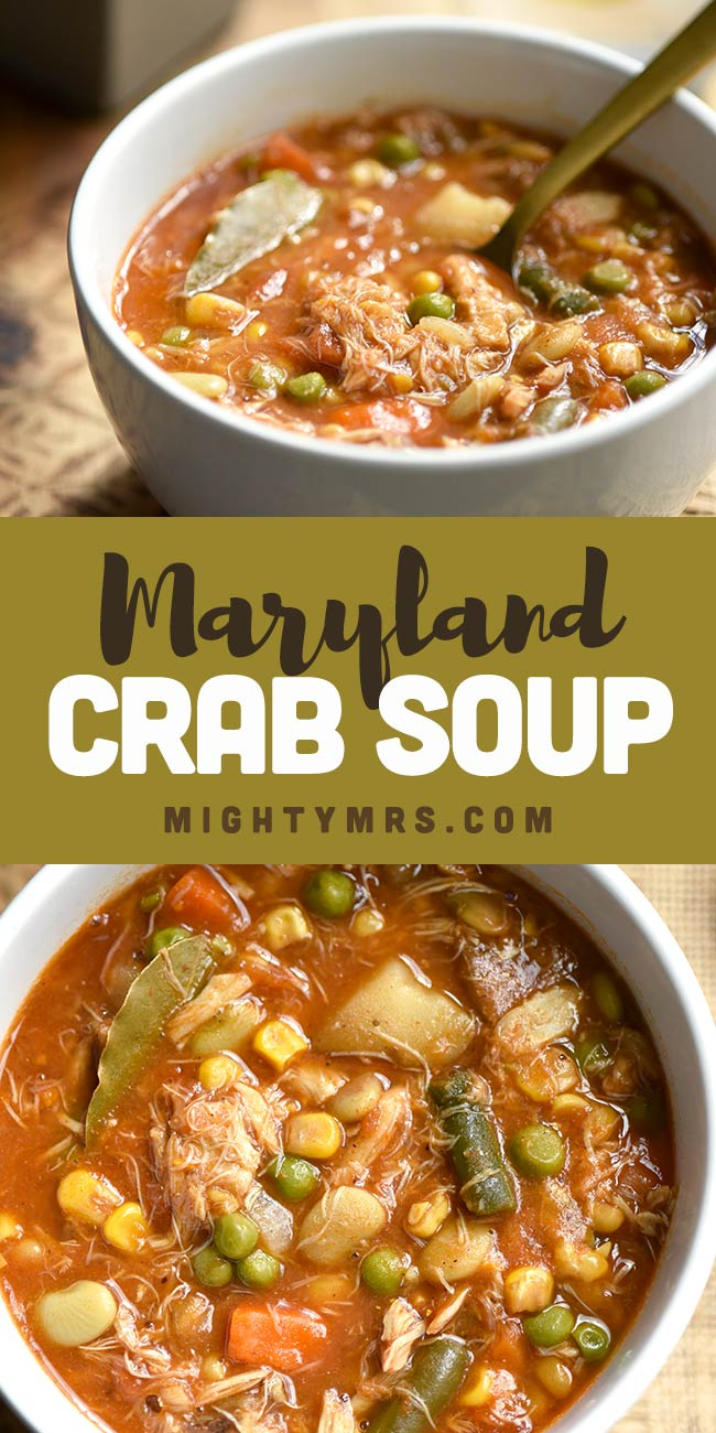 Maryland Crab Soup with Vegetables and Potatoes