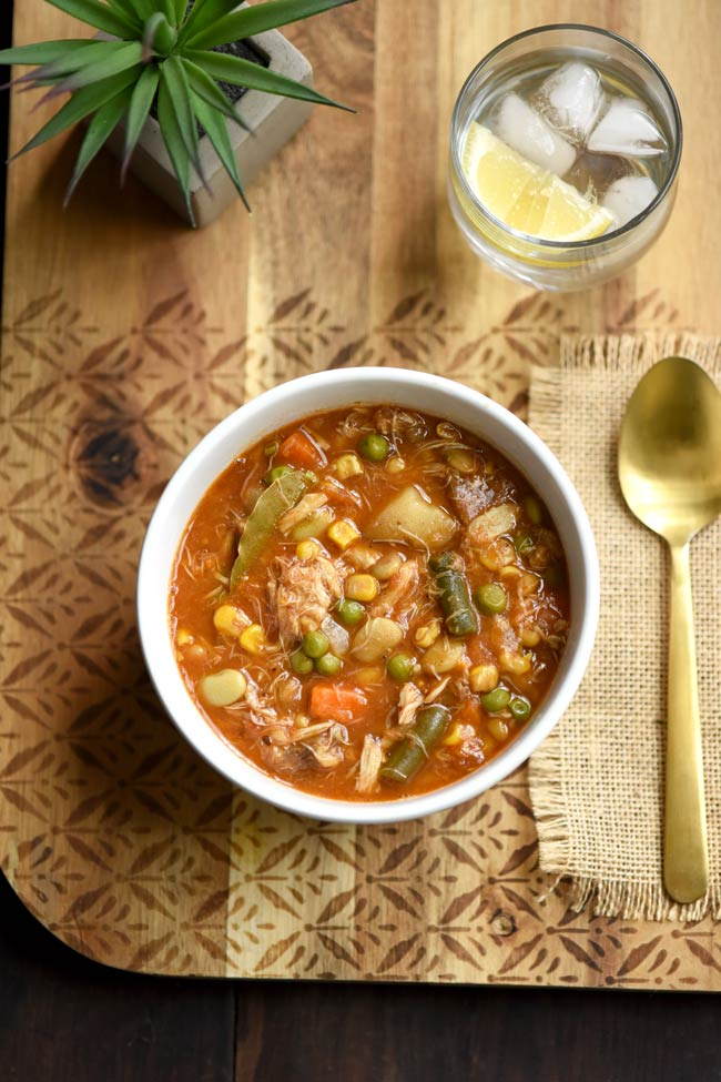 Maryland Crab Soup with tomato broth