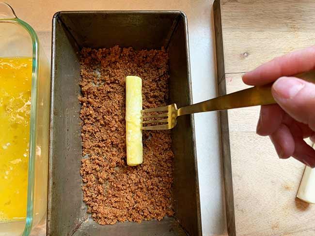 breading mozzarella stick