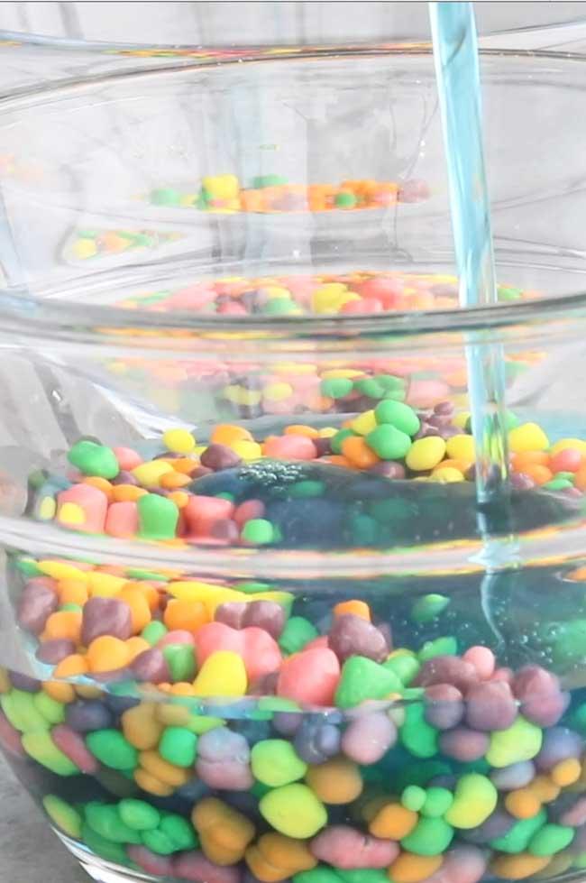 Jello Fish Bowls - Pour Jello over Nerds