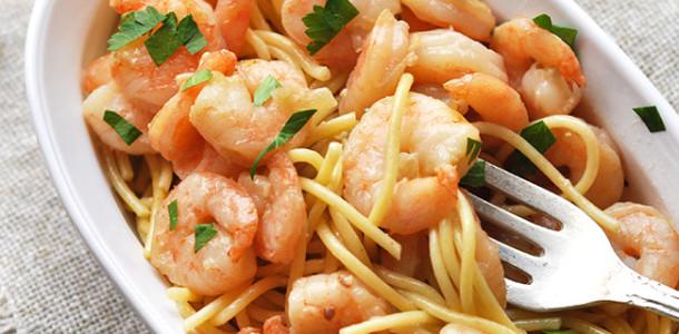 Shrimp Parmesan Noodles in White Wine Sauce
