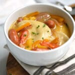 Kielbasa Pierogi Soup with Hard Apple Cider Broth