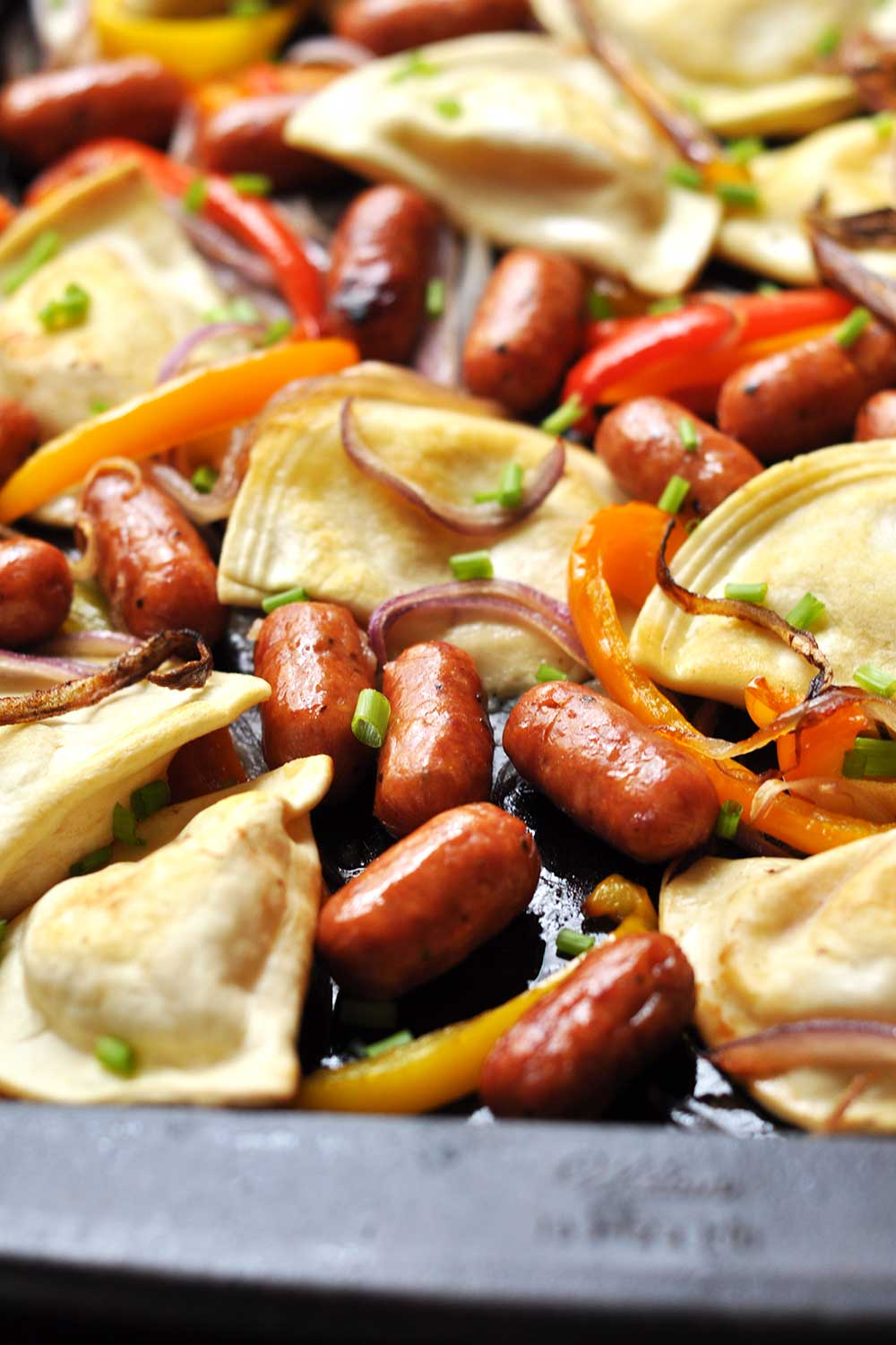 Sheet Pan Dinner: Pierogies and Kielbasa with Peppers and Onions