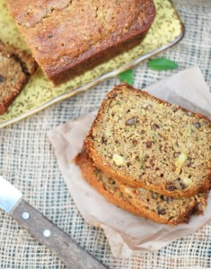 Pineapple Zucchini Bread — best zucchini bread recipe I've ever tried! The pineapples and salt make this uniquely delicious. The crunchy crust with super moist inside is perfection.
