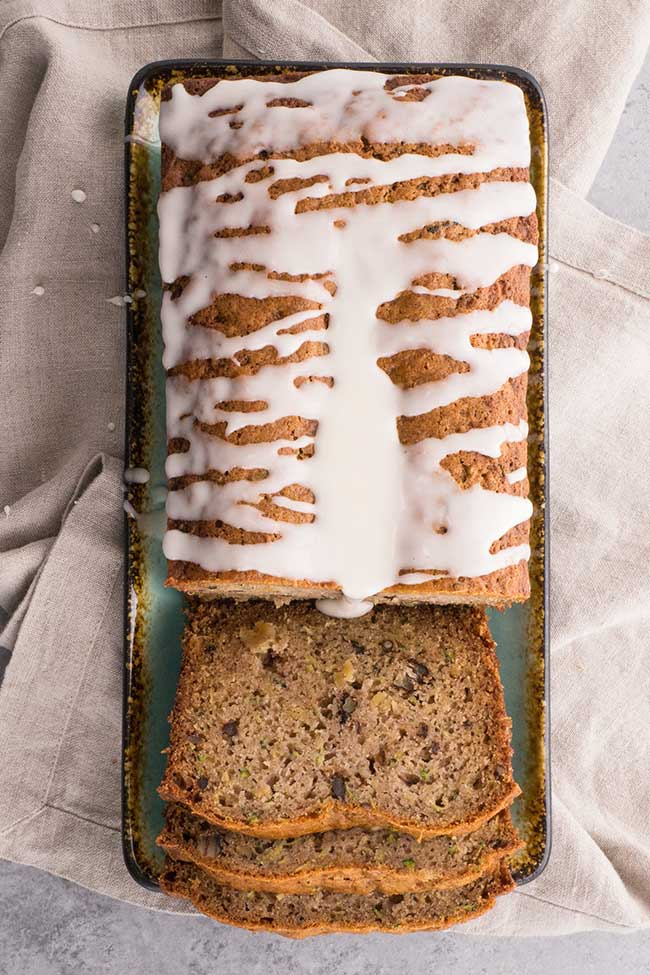 Pineapple Zucchini Bread with Icing