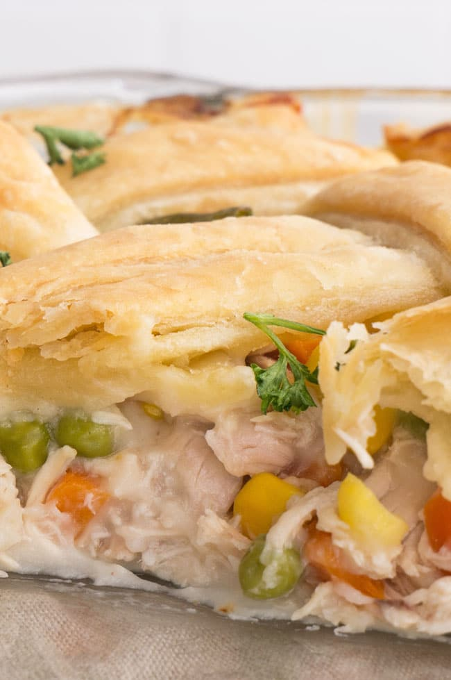 Puff Pastry Chicken Pot Pie with vegetables