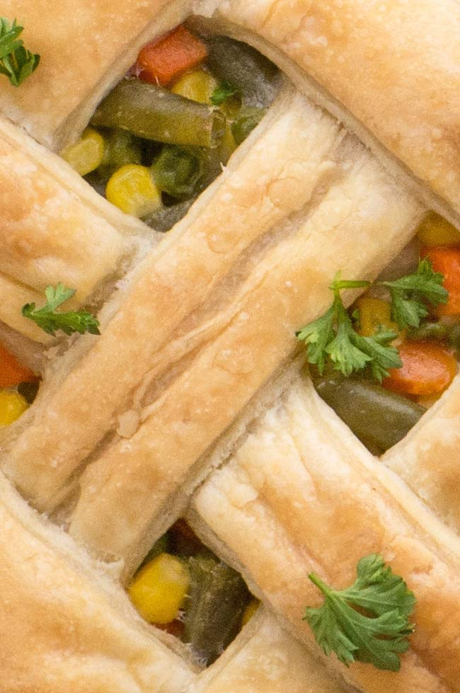 Puff Pastry Chicken Pot Pie with lattice top