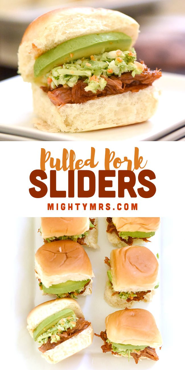 Hawaiian Roll Pulled Pork Sliders with Coleslaw and Avocado