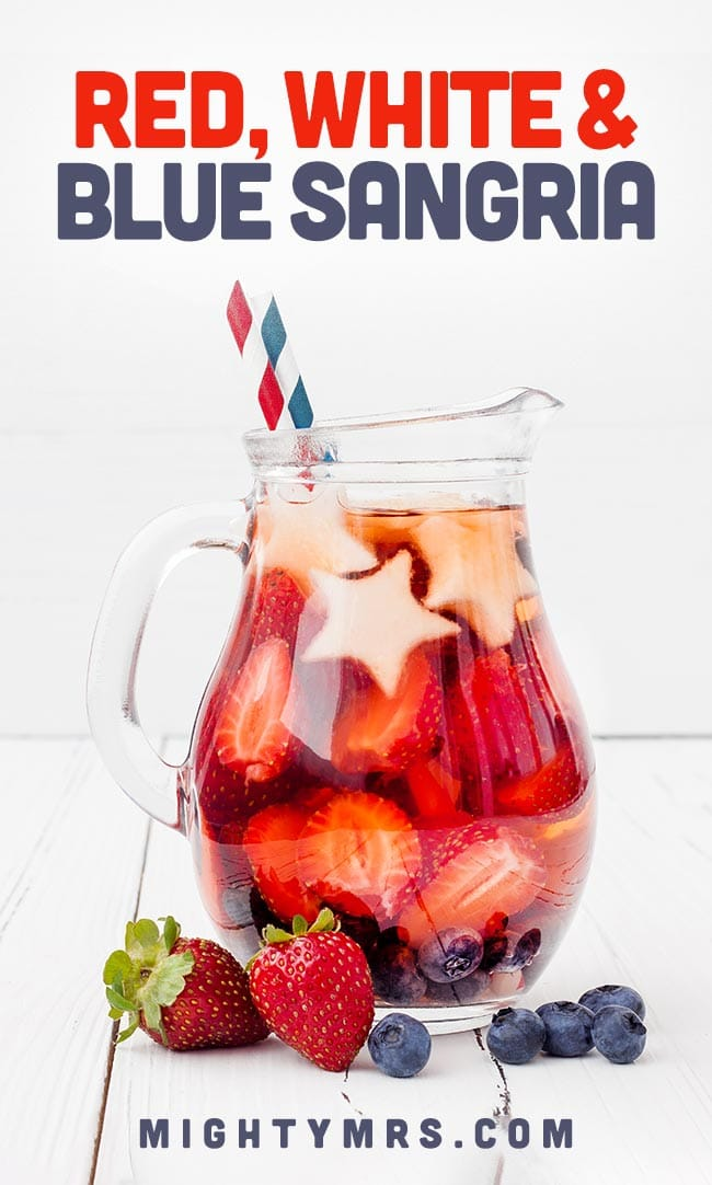 Red White and Blue Sangria - with star melon