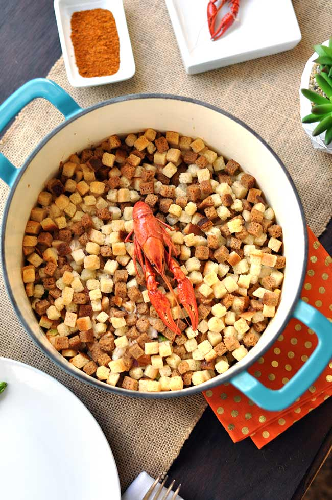 Seafood Casserole using crawfish, crab, clams and shrimp