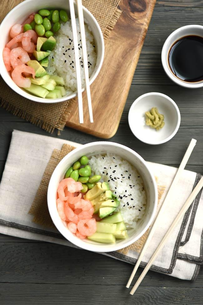 Easy Shrimp Avocado Sushi Bowl Recipe