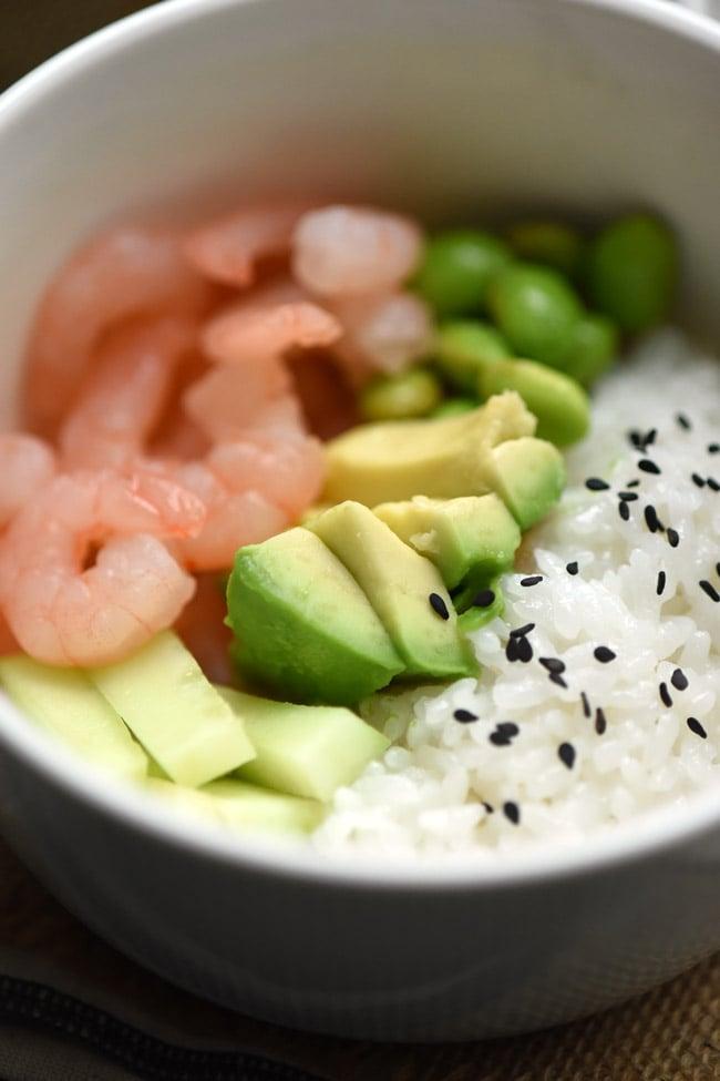 How to Make a Shrimp Avocado Sushi Bowl
