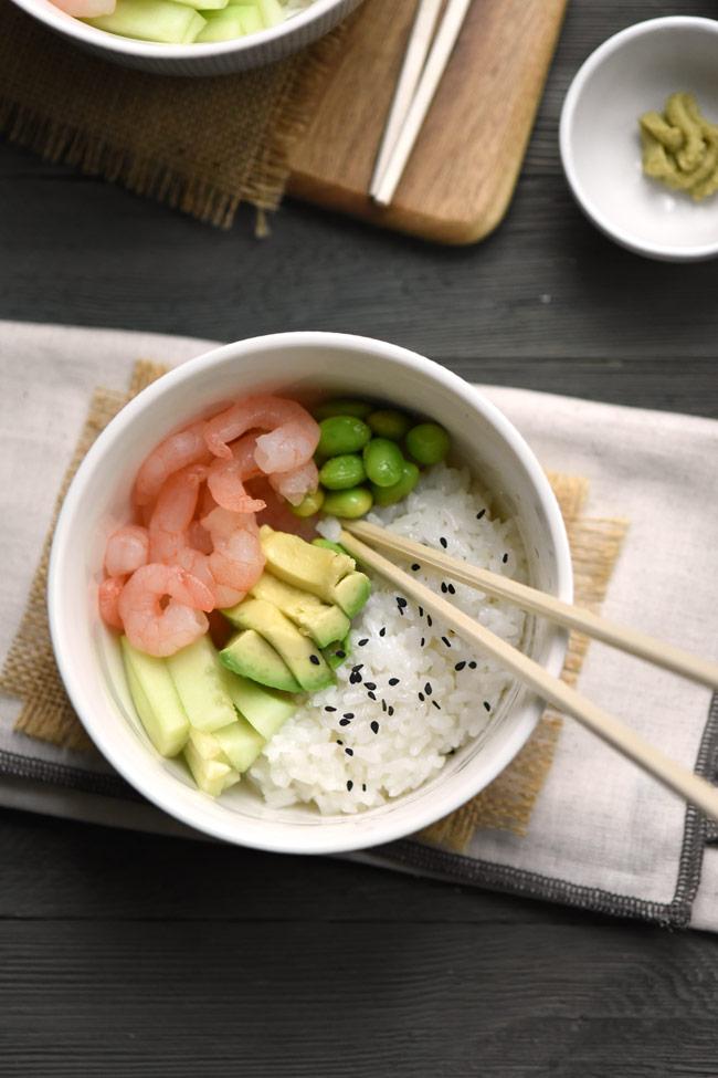 Homemade Shrimp Avocado Sushi Bowl