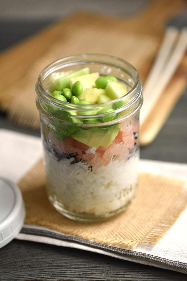 Shrimp Avocado Sushi Bowl in a Mason Jar