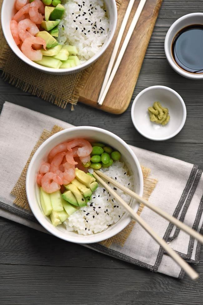Shrimp and Avocado Sushi Bowl