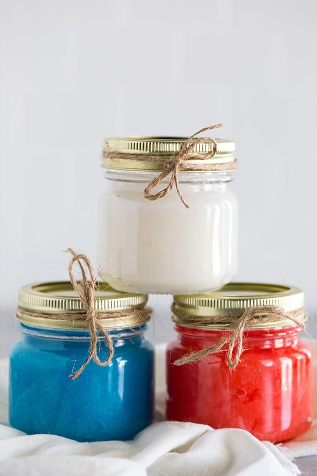 Homemade Sugar Scrubs - Red, White and Blue