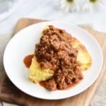 Southern Barbecue Pork-Topped Cornbread Pie