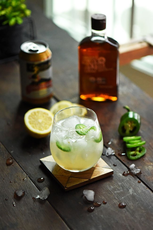 Spicy Mule with ginger beer, lime, agave nectar and jalapeno