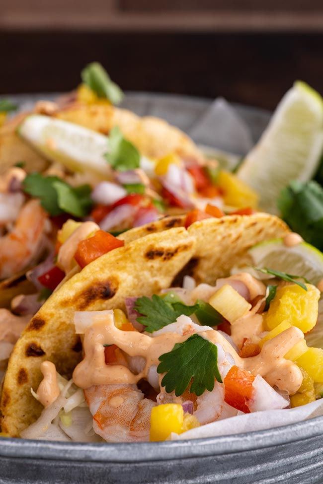 Easy Spicy Shrimp Tacos with Pineapple Salsa with Corn Tortillas
