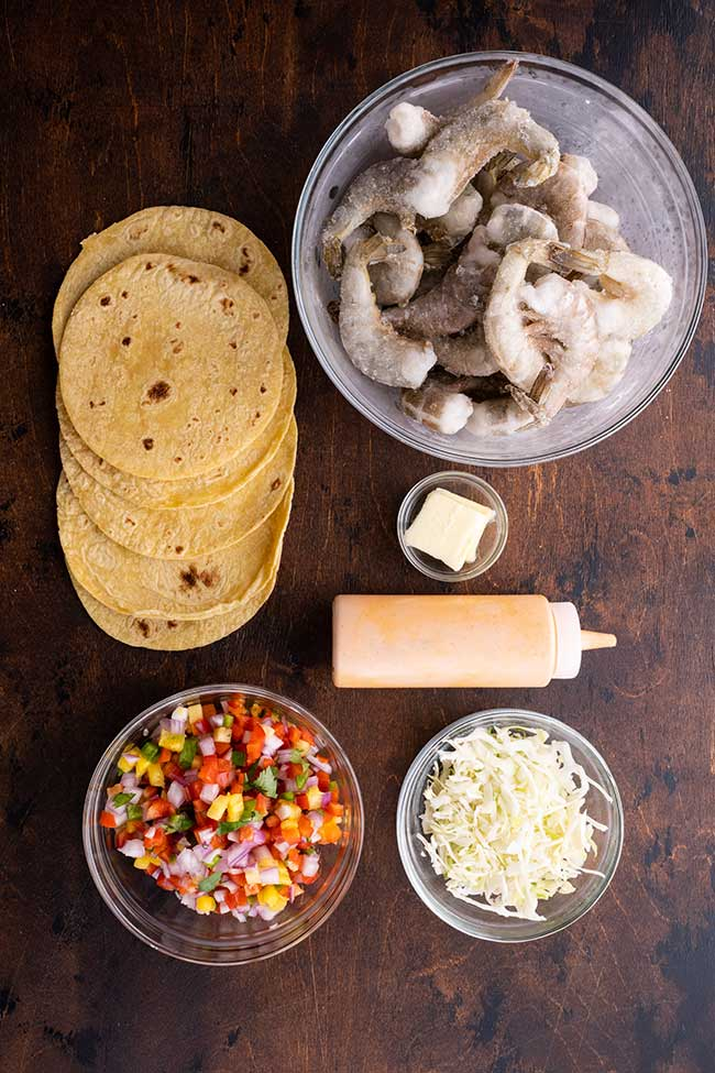 Ingredients for Spicy Shrimp Tacos