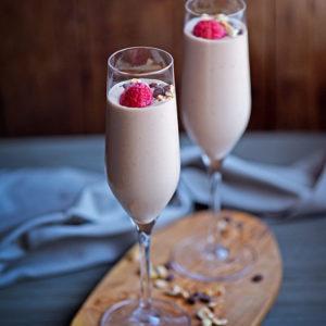 Boozy Raspberry Chocolate Yogurt Mousse