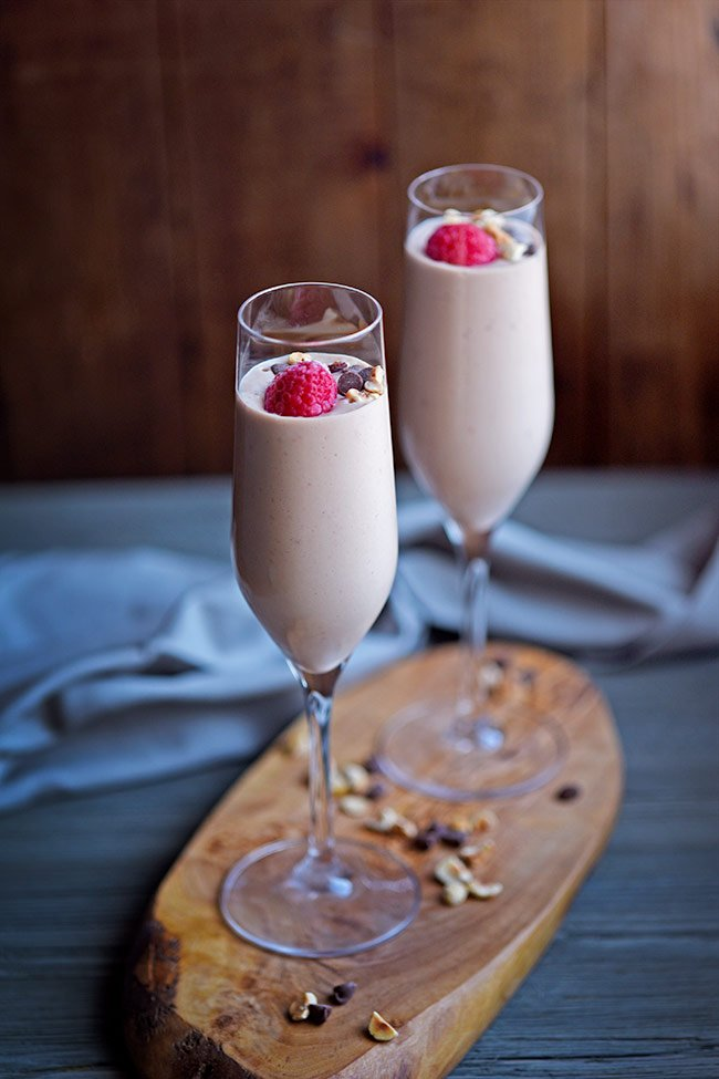 Boozy Raspberry Chocolate Yogurt Mousse