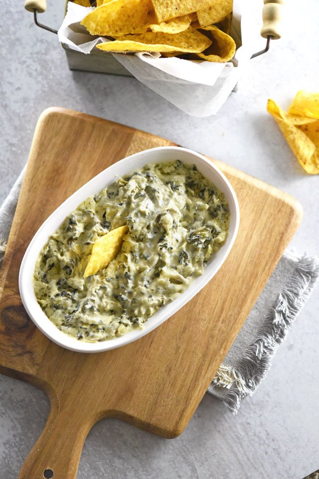 Easy Spinach Artichoke Dip with tortilla chips