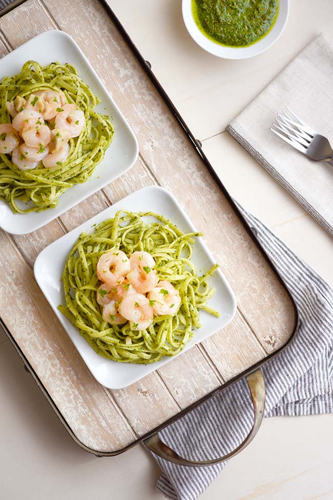 Shrimp and Chicken Pesto Pasta
