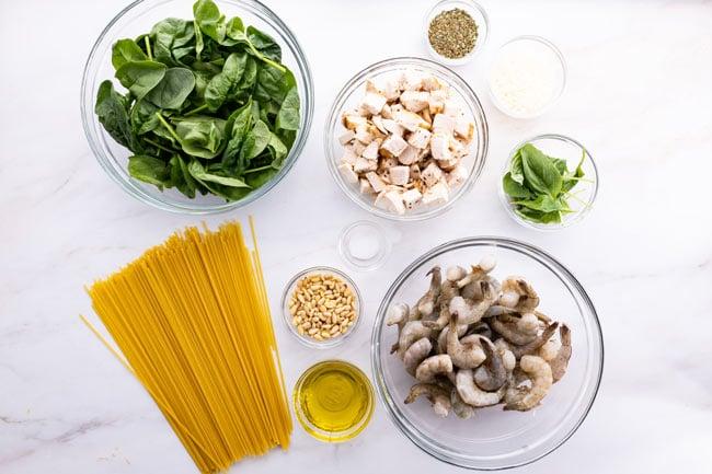 Spinach Pesto Pasta Ingredients