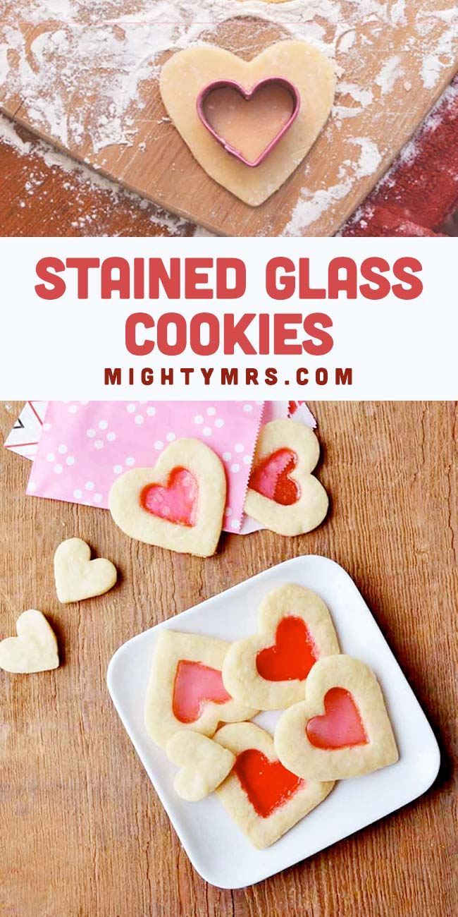 Stained Glass Sugar Cookies - Heart shaped