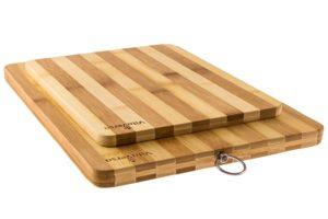 Striped Bamboo Cutting Board Set