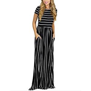 Striped Black and White Maxi Dress