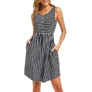 Striped Sleeveless Midi Dress with Buttons
