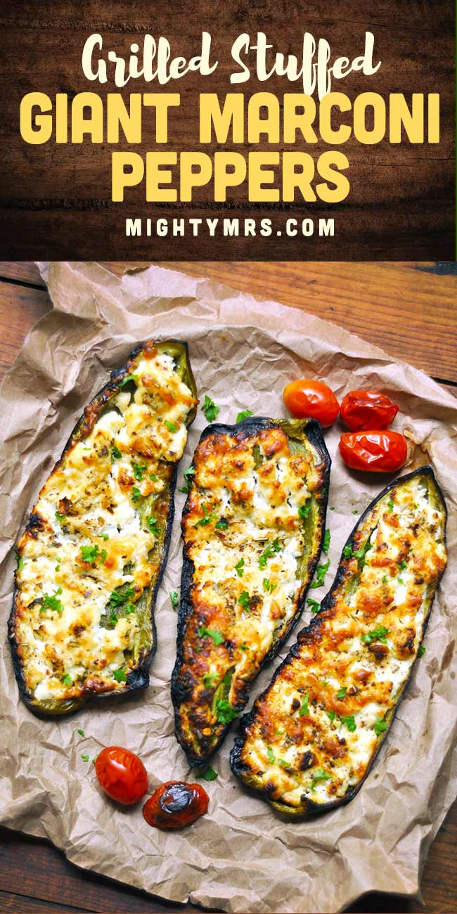Grilled Stuffed Giant Marconi Peppers