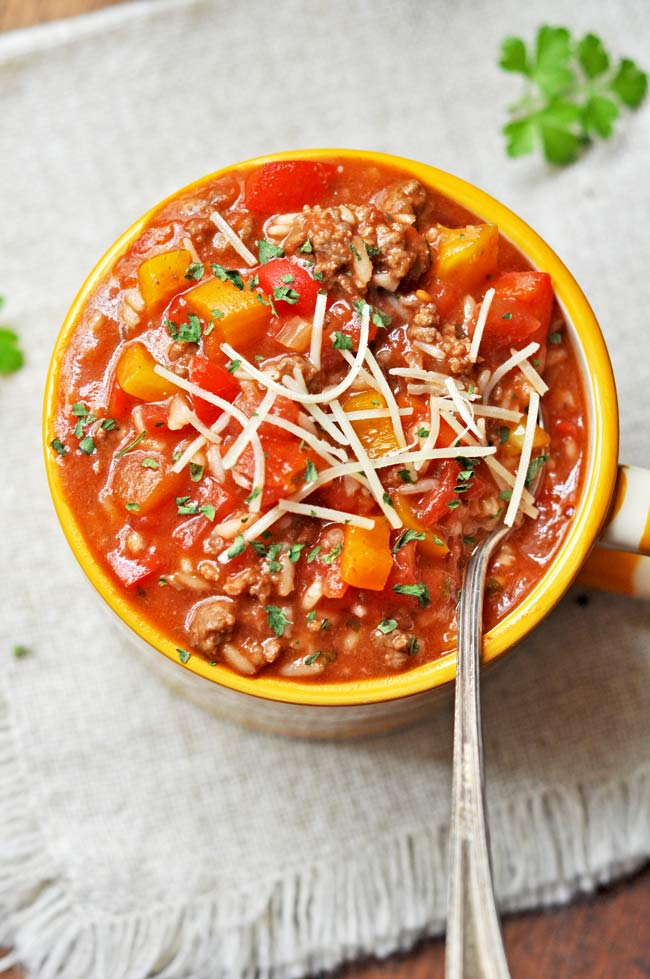 Stuffed Pepper Soup with Parmesan Cheese