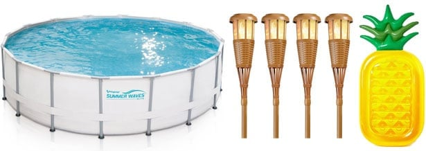 Summer Staycation - pool, tiki torches, pineapple pool float