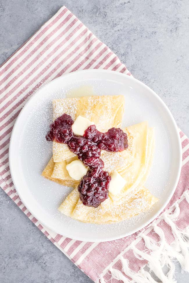 Swedish Crepes with Lingonberry Jam