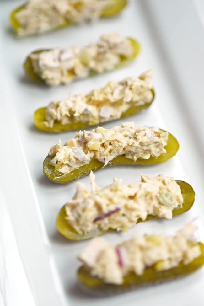 Baby Dill Pickles with Tuna Salad