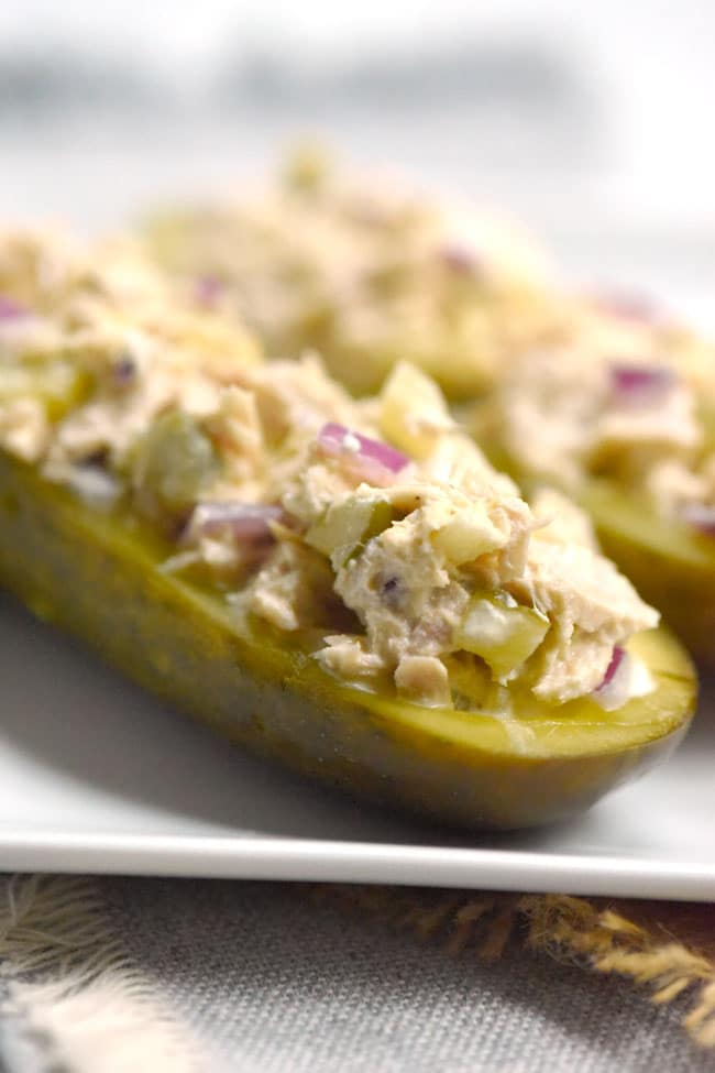 Tuna Salad Stuffed Pickle Sandwich